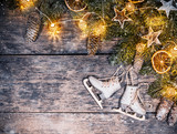 Decorative Christmas rustic background - 236983274