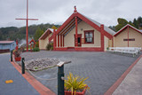 Maori church in Rotorua indeginous village, New Zealand - 236986642