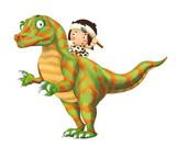 cartoon happy scene with caveman man on dinosaur velociraptor on white background - illustration for children - 236986834