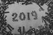 New year 2019 written with  metal nuts and bolts