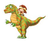 cartoon happy scene with caveman man on dinosaur velociraptor on white background - illustration for children - 236988800