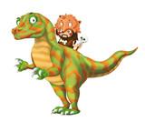 cartoon happy scene with caveman man on dinosaur velociraptor on white background - illustration for children - 236989209