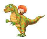 cartoon happy scene with caveman man on dinosaur velociraptor on white background - illustration for children - 236989479