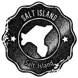 Salt Island map vintage stamp. Retro style handmade label, badge or element for travel souvenirs. Black rubber stamp with island map silhouette. Vector illustration. - 236989889