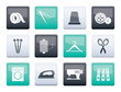 Textile objects and industry icons over color background - vector icon set