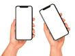 Leinwandbild Motiv Man hand holding the black smartphone with blank screen
