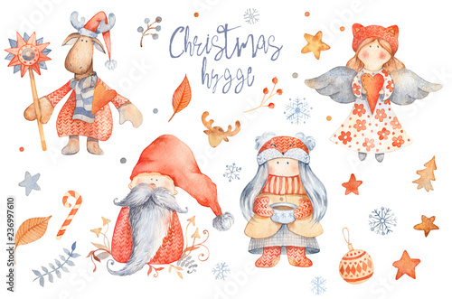 Set of Christmas Hygge Cute cartoon characters - gnome, girl with cup of tea, angel, moose