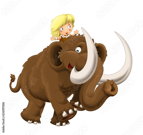 cartoon happy scene with caveman woman on mammoth on white background - illustration for children - 236997806