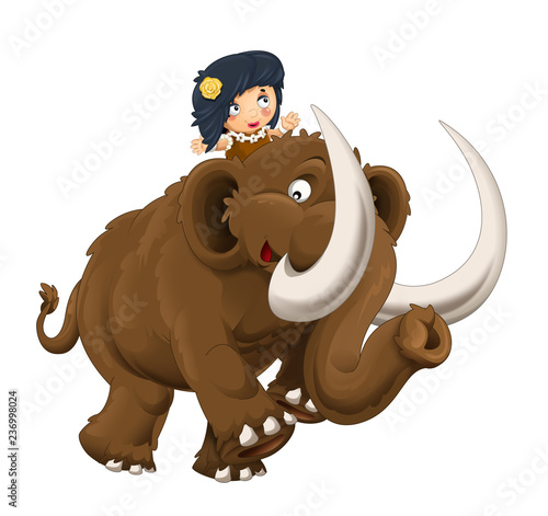 cartoon happy scene with caveman woman on mammoth on white background - illustration for children - 236998024