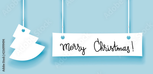 Merry christmas words and fir made of paper label - 236999494