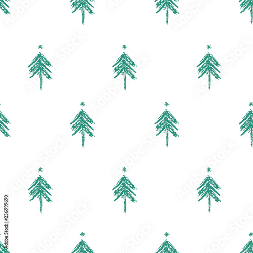 obraz PCV Endless Christmas Pattern with Christmas Trees