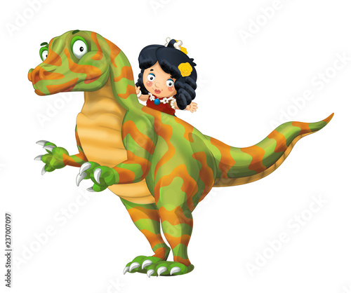 cartoon happy scene with caveman woman on dinosaur velociraptor on white background - illustration for children - 237007097