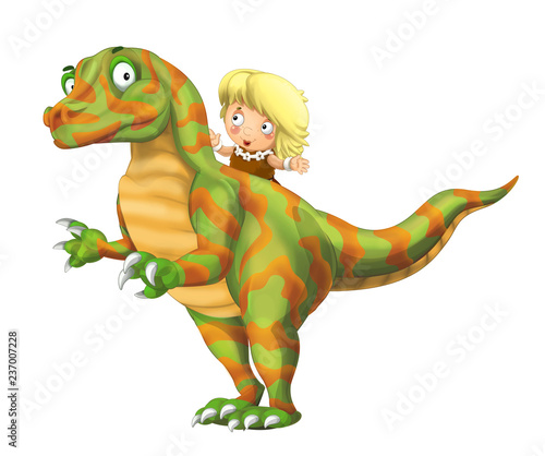 cartoon happy scene with caveman woman on dinosaur velociraptor on white background - illustration for children - 237007228
