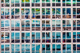 facade of office building with reflection of street life - 237009604
