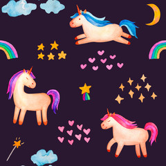 Seamless pattern. Cute watercolor unicorn isolated on violet background. Beautiful watercolor unicorn illustration. Magic trendy pink cartoon horse perfect for nursery print and poster design.