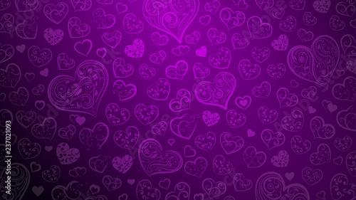 Tło dużych i małych serc z ornamentem loki i kwiatów, w kolorach fioletowym