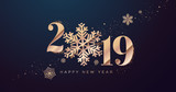 Happy New Year 2019. Vector illustration concept for background, greeting card, website and mobile website banner, party invitation card, social media banner, marketing material. - 237023018