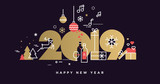Happy New Year 2019. Vector illustration concept for background, greeting card, website and mobile website banner, party invitation card, social media banner, marketing material. - 237023215