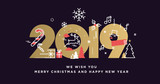 Merry Christmas and Happy New Year 2019. Modern vector illustration concept for background, greeting card, party invitation card, website banner, social media banner, marketing material. - 237023252