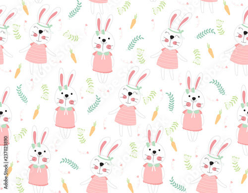 Cute rabbit cartoon seamless pattern animal with carrots and leaf on white color background.vector,illustration.