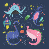 Cute dinosaurs in space hand drawn vector color characters set © faveteart