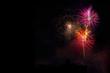 Leinwanddruck Bild - Fireworks display over dark sky
