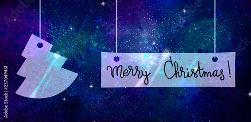 Merry christmas words and fir made of glass on space background with endless stars and nebulas - 237049461