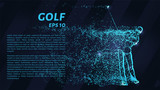 Golf from the blue points of light. Golfer hits the ball from the particles. Vector illustration.