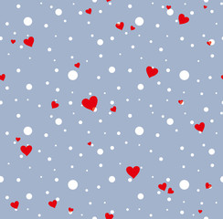 Cute holiday seamless pattern with snow and hearts. Pattern with cartoon silhouette pig.