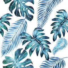 Watercolor seamless floral pattern, background with palm leaves, jungle leaf. Exotic wallpaper, Hawaiian style. leaves of Monstera blue. Watercolor monstera leaves.