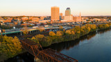 Springfield Massachusetts Late Afternon Rush Hour Traffic Aerial Riverfront View - 237059400