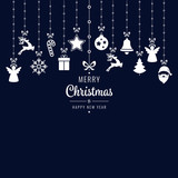 christmas greetings ornament elements hanging blue background
