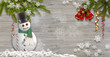 Merry Christmas, snowman, fir branches and snowflakes on a wooden background. 2019 Happy New Year. - 237061610