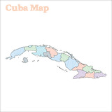 Cuba hand-drawn map. Colourful sketchy country outline. Eminent Cuba map with provinces. Vector illustration.