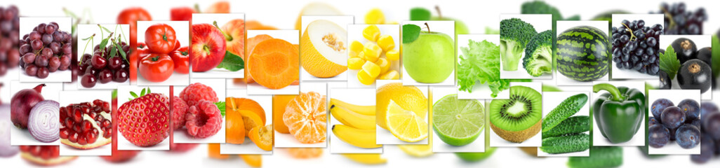 Background of color mixed fruits and vegetables