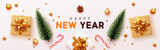 Happy New Year banner, Xmas decorative design elements with gifts box and golden tinsel. Horizontal Christmas posters, greeting cards, headers, website. Objects viewed from above. Flat lay, Top view - 237085059