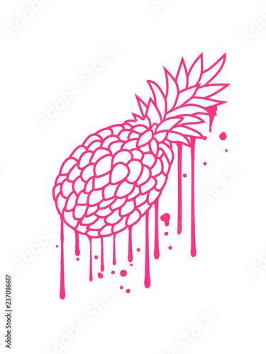 pink graffiti tropfen farbe spray ananas lecker hunger essen obst gesund ernährung diät comic cartoon design clipart