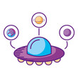 ufo spaceship planets astrology cartoon - 237091604