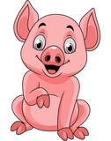 Cartoon happy pig sitting - 237105216