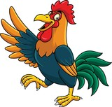 Cartoon rooster presenting - 237105272