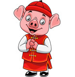 Cartoon happy little pig with traditional Chinese costume - 237105283