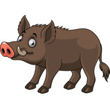 Cartoon funny wild boar - 237105850
