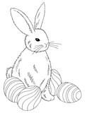 Easter rabbit with eggs graphic black white isolated sketch illustration vector - 237109071