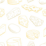 Cheese graphic yellow color seamless pattern sketch background illustration vector - 237110003