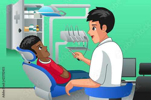 Dentist Checking on a Kid Patient Illustration - 237112433