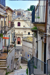 view of the historic center of Ragusa Sicily Italy