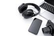 Laptop, smartphone, camera and headphone