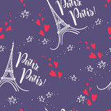 Vector doodle seamless pattern with Eiffel Tower and lettering P