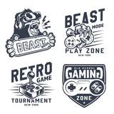 Vintage gaming emblems set