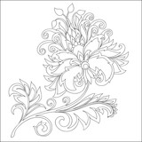 vector contour of fantasy flower with ornaments - 237124815
